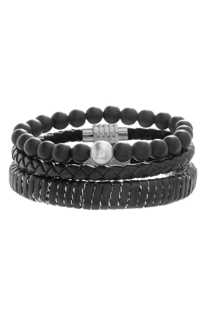 BEN SHERMAN Set of 3 Beaded & Leather Bracelets, Main, color, 001