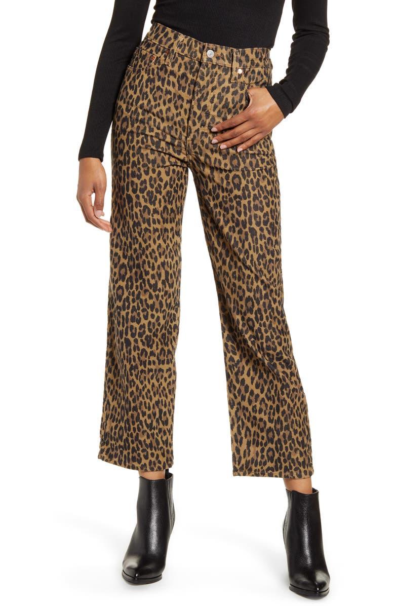LEVI'S<SUP>®</SUP> Ribcage Leopard Straight Leg Corduroy Pants, Main, color, GEHU LEOPARD CORDUROY