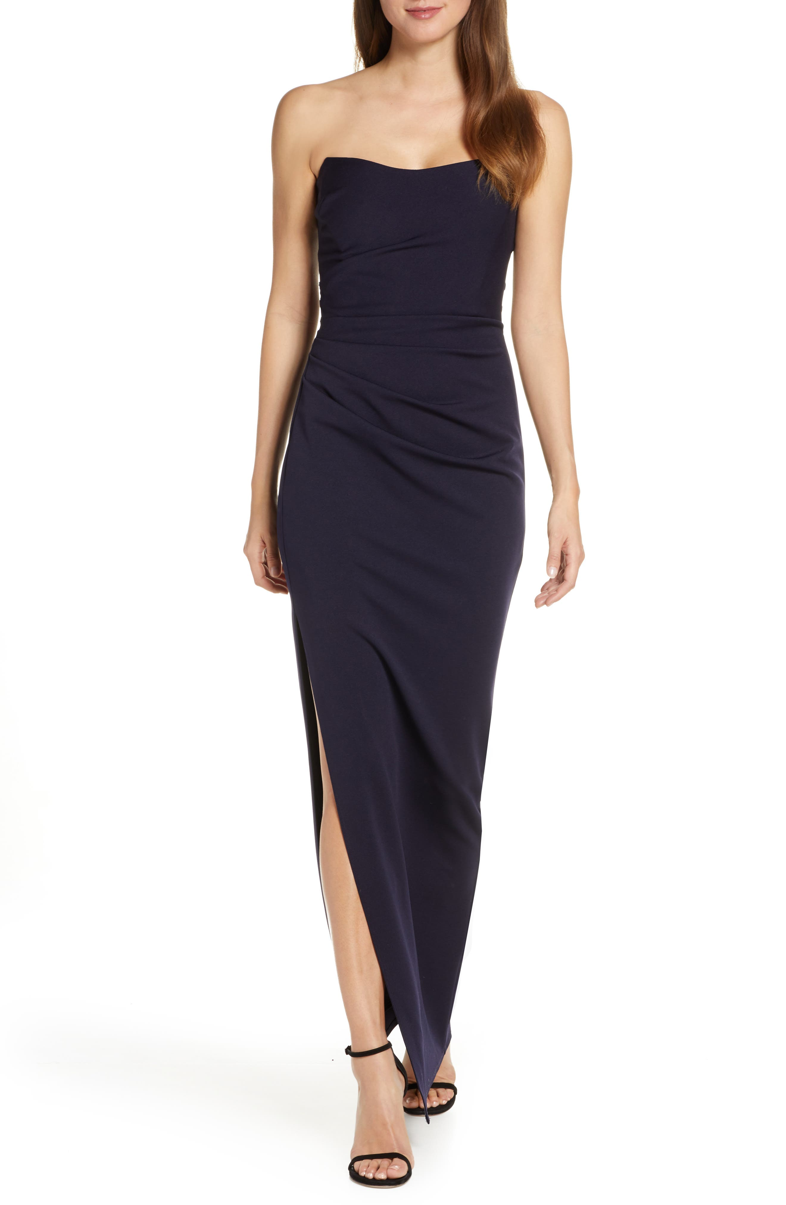 Katie May Sway Strapless Column Dress, Blue