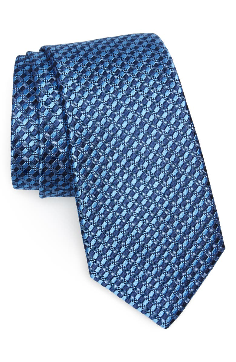 NORDSTROM MEN'S SHOP Nathan Neat Silk Tie, Main, color, NAVY