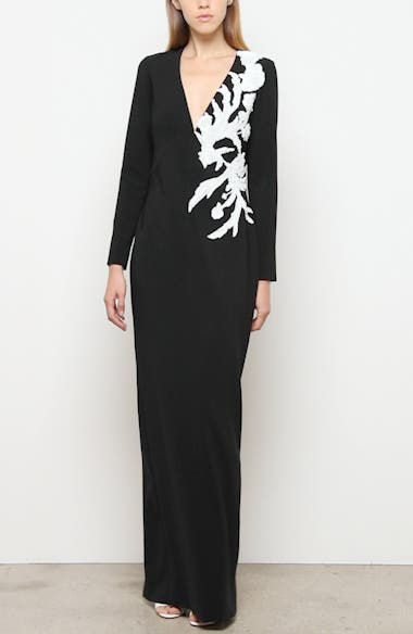 Sequin Flower Long Sleeve Stretch Crepe Gown, video thumbnail