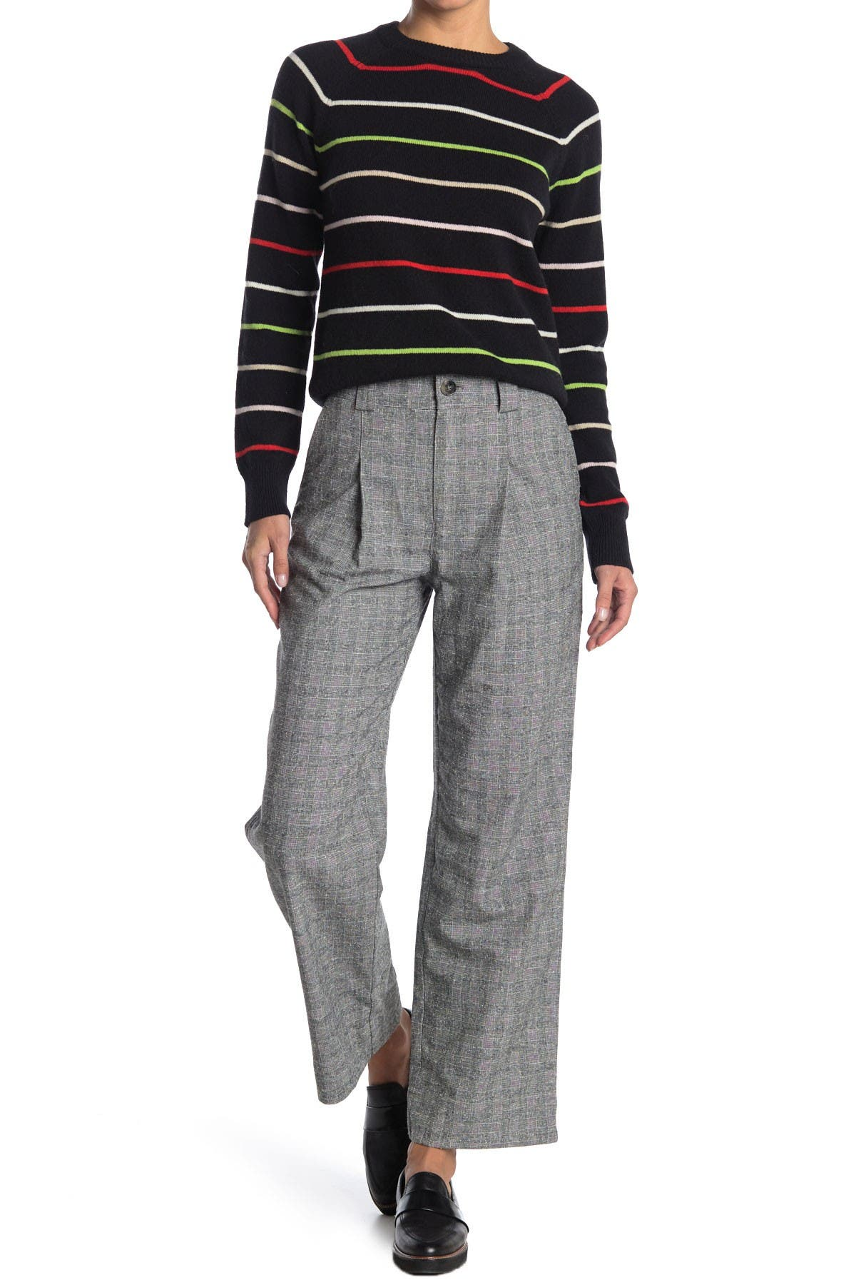 Image of GANNI High Rise Check Light Suiting Trousers