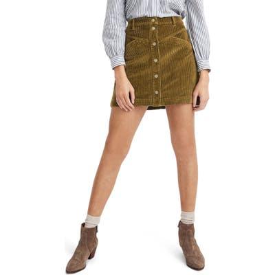 Madewell Corduroy A-Line Snap Miniskirt, Green