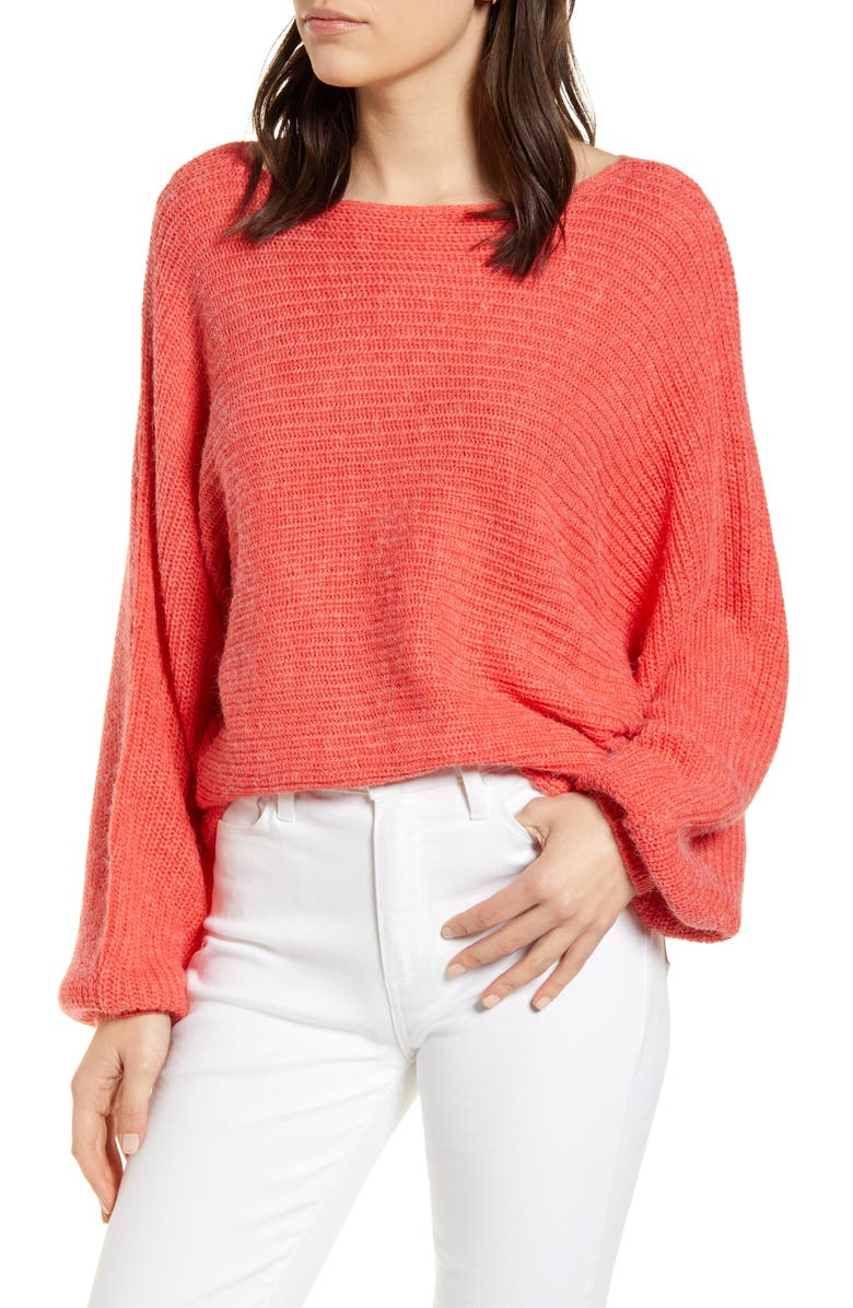CUPCAKES AND CASHMERE Sonrisa Dolman Sleeve Sweater, Main, color, HOT CORAL