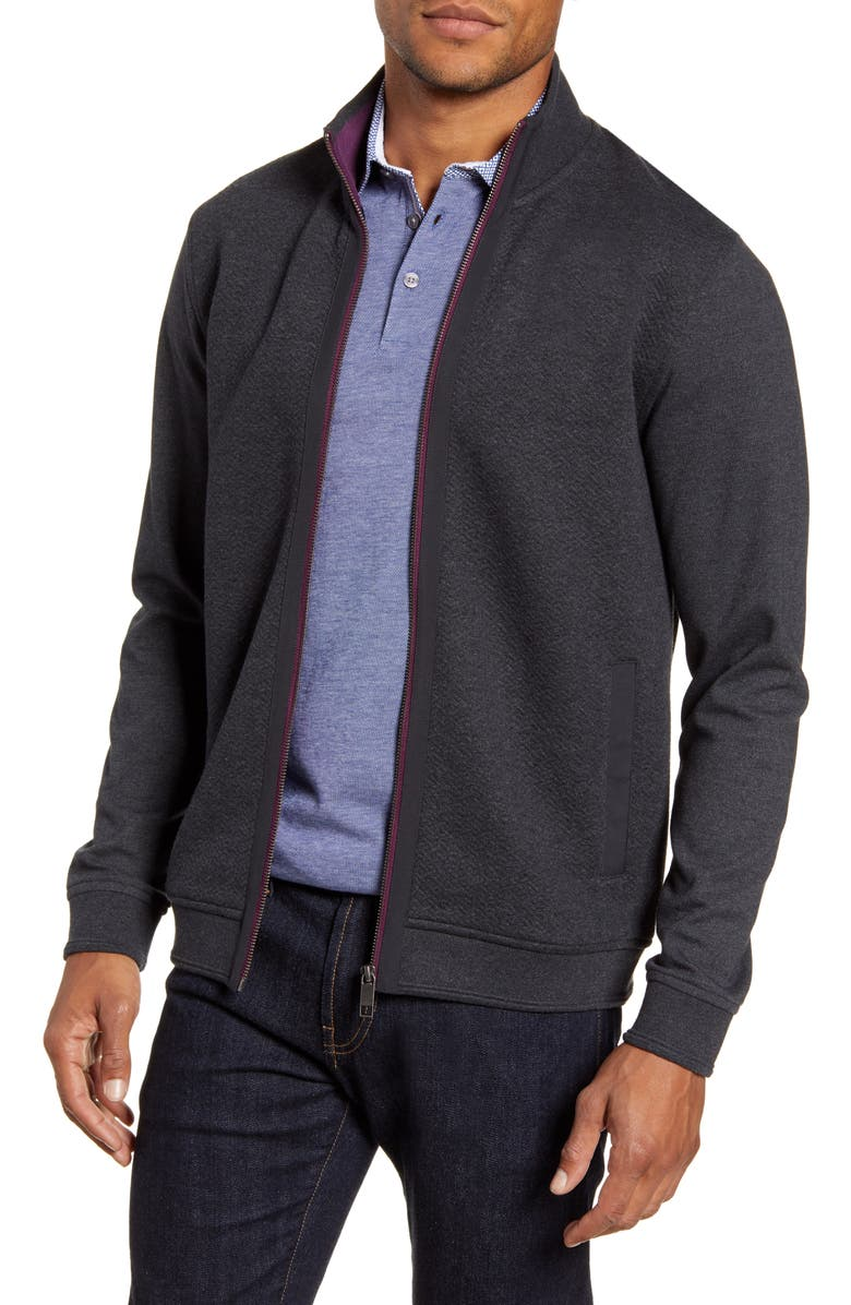 TED BAKER LONDON Multy Slim Fit Fleece Jacket, Main, color, CHARCOAL