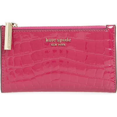 Kate Spade New York Sylvia Croc Embossed Leather Slim Bifold Wallet - Purple