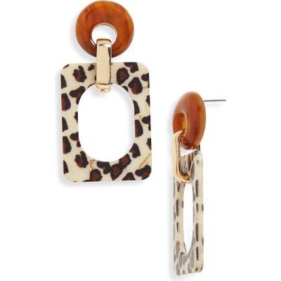 Bp. Leopard Pattern Geometric Drop Earrings