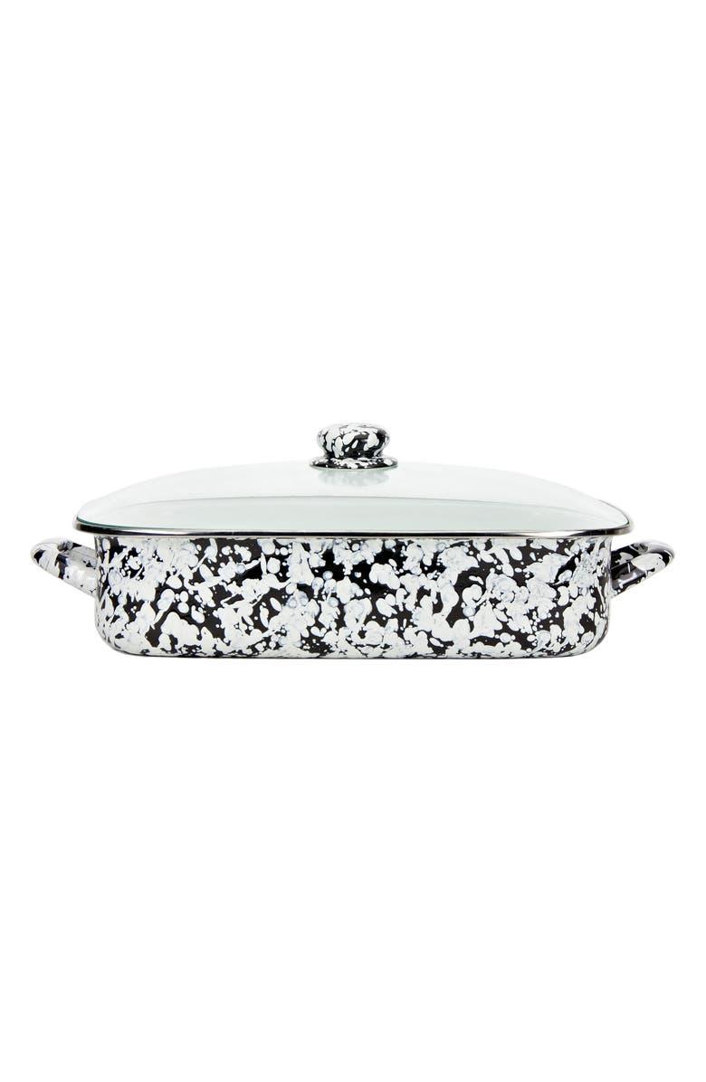 GOLDEN RABBIT Lidded Roasting Pan, Main, color, BLACK SWIRL