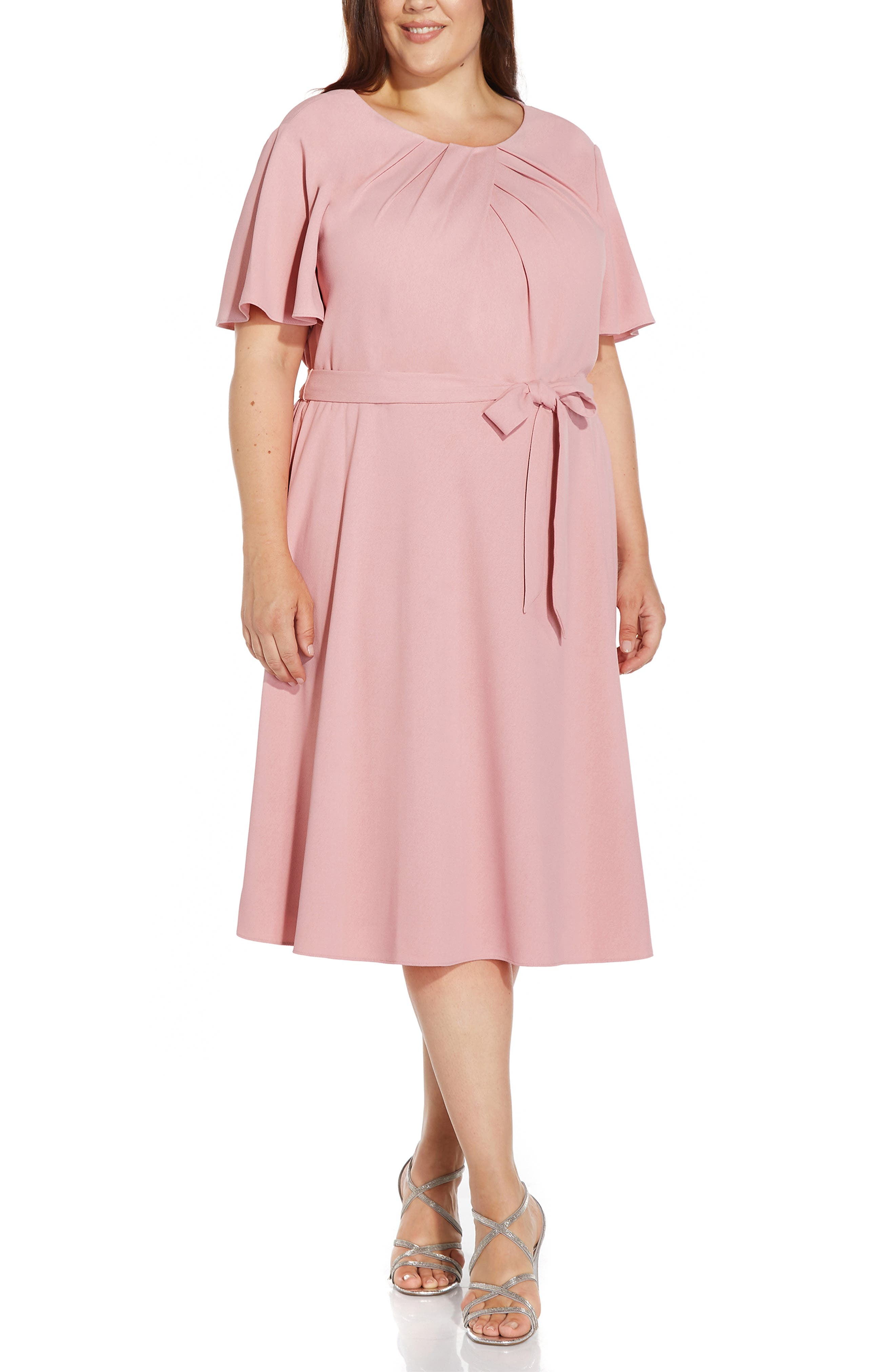 Draped Divine Tie Waist Crepe A-Line Dress