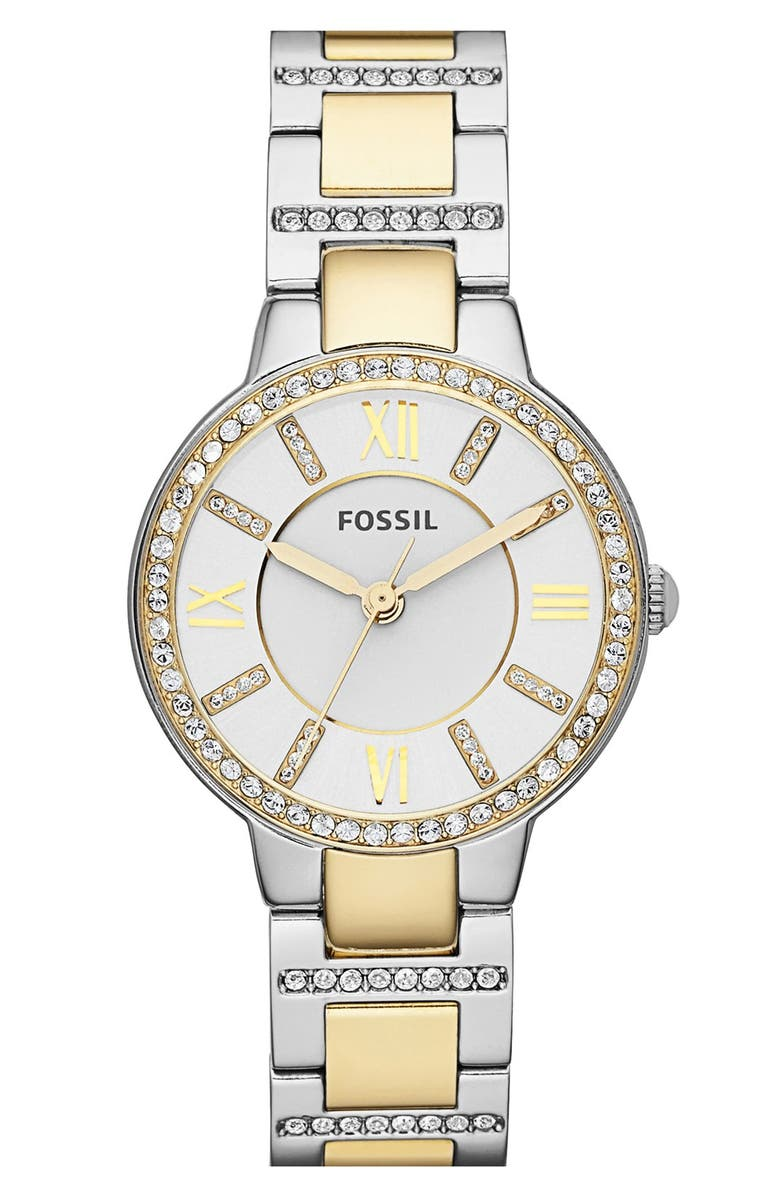 FOSSIL 'Virginia' Crystal Bezel Bracelet Watch, 34mm, Main, color, 040