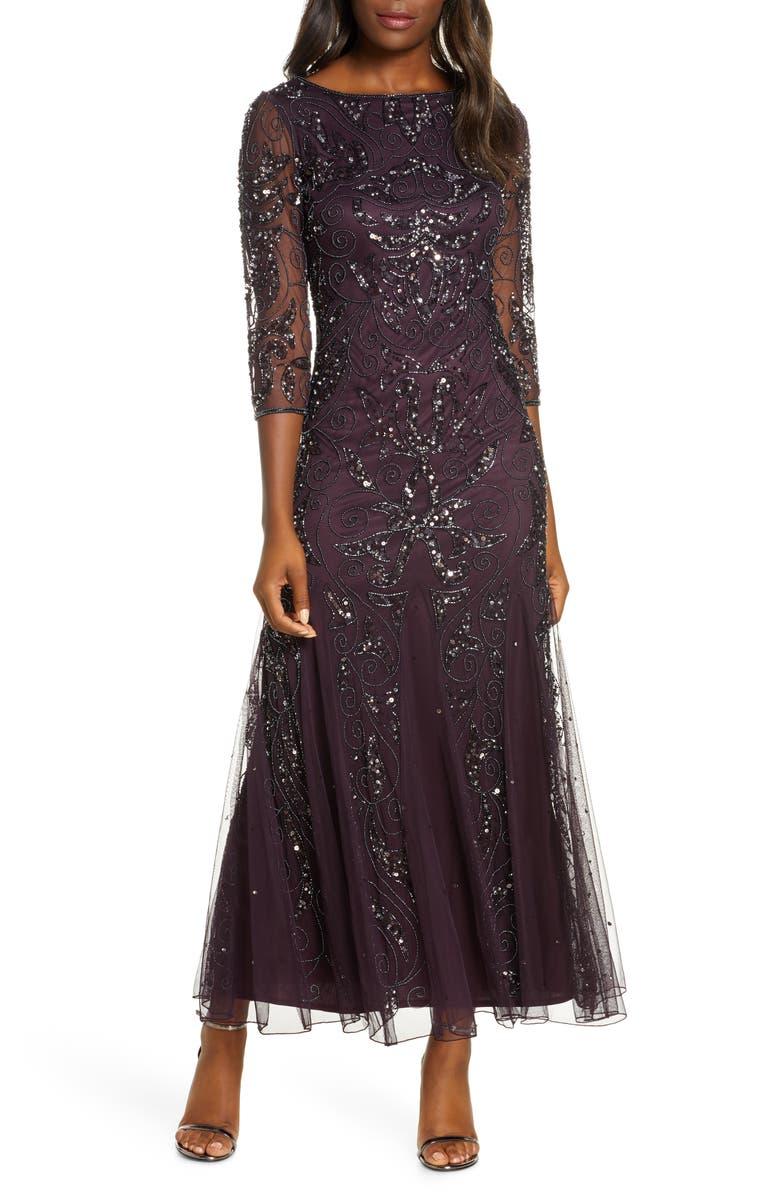 PISARRO NIGHTS Embellished Mesh Gown, Main, color, NEW WINE/GUNMETAL
