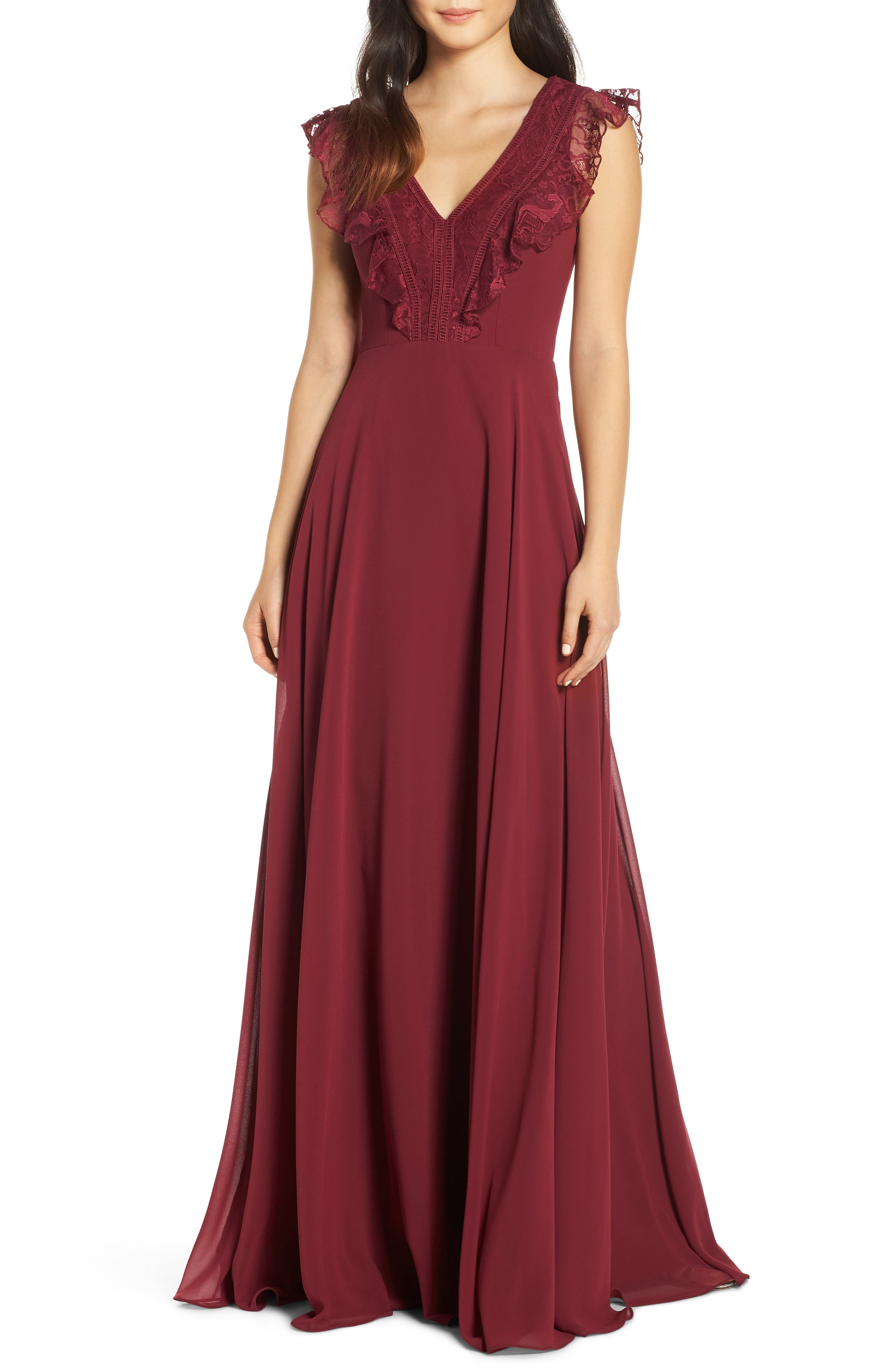 Hayley Paige Occasions Lace V-Neck Chiffon Evening Dress, Burgundy