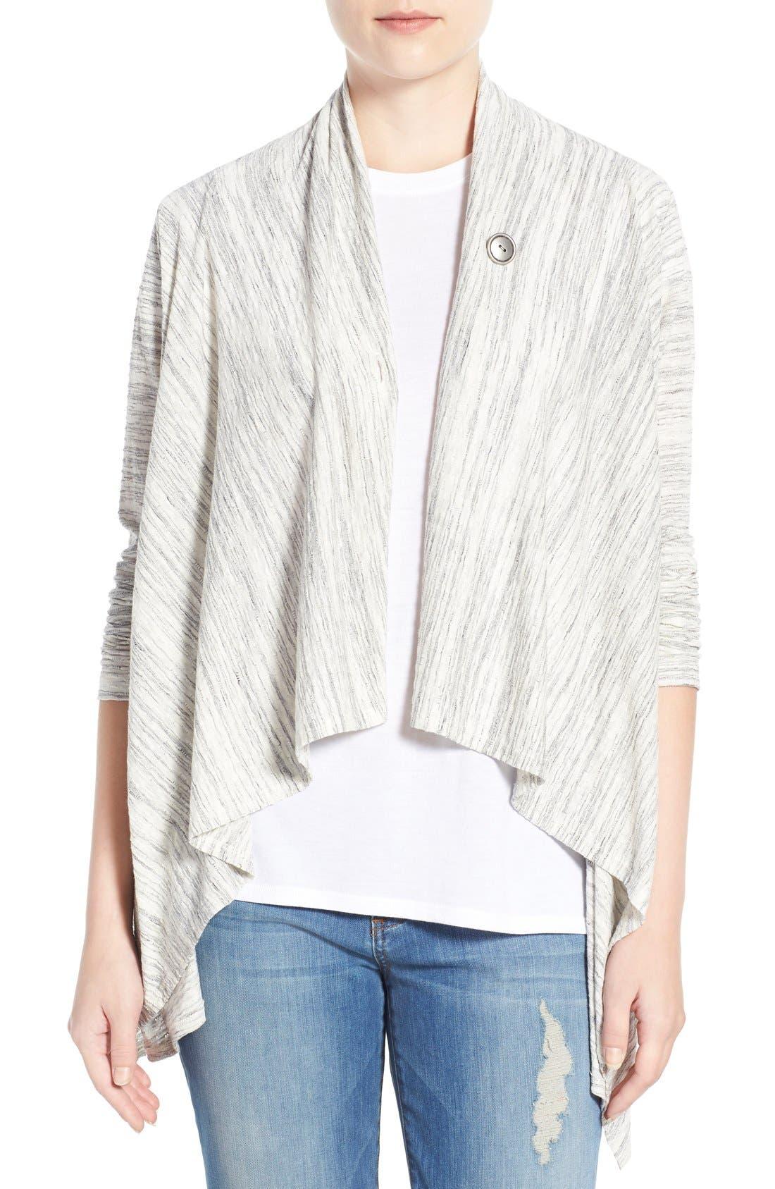 ,                             One-Button Fleece Wrap Cardigan,                             Main thumbnail 58, color,                             129