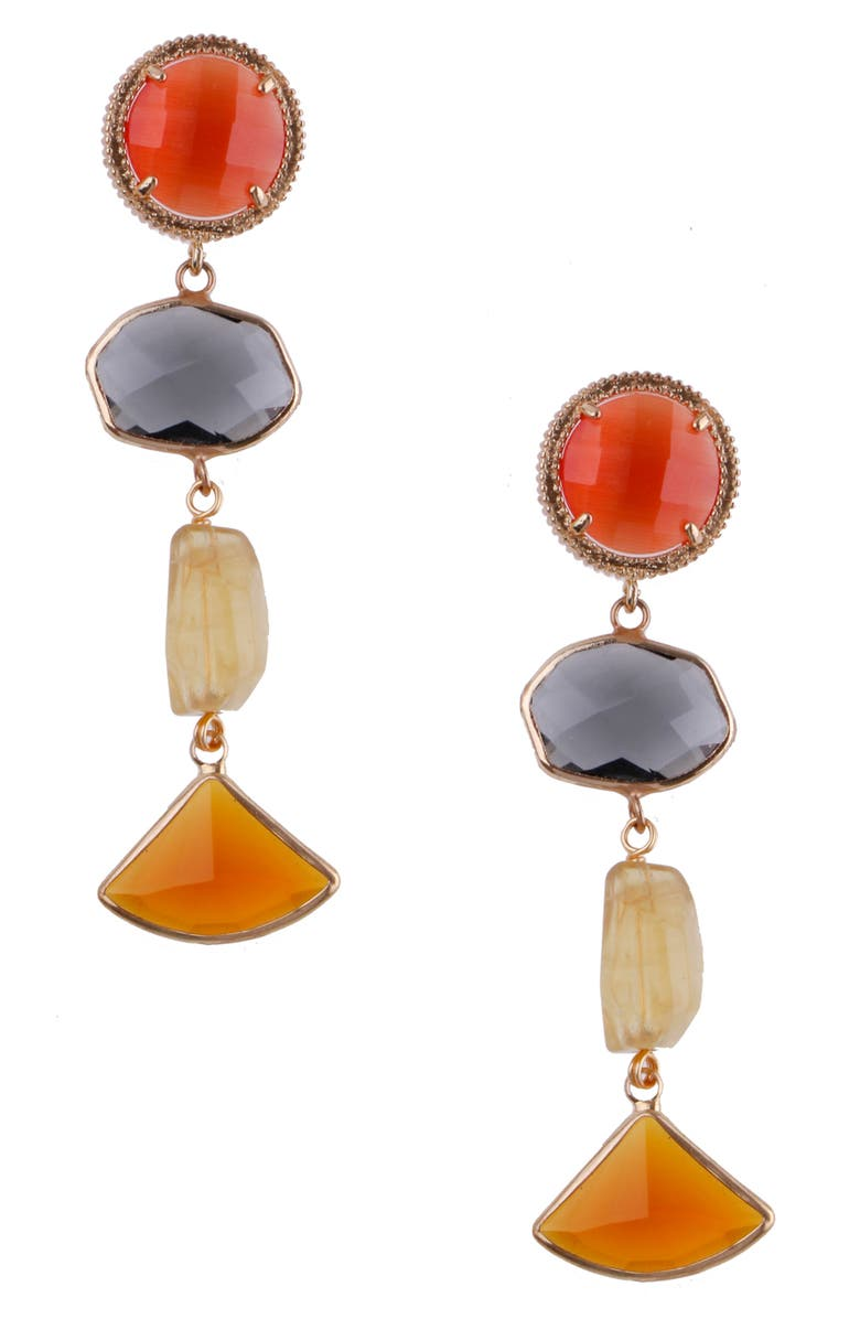 NAKAMOL CHICAGO Nakamol Design Tiered Linear Earrings, Main, color, ORANGE/ GREY/ YELLOW/ GOLD