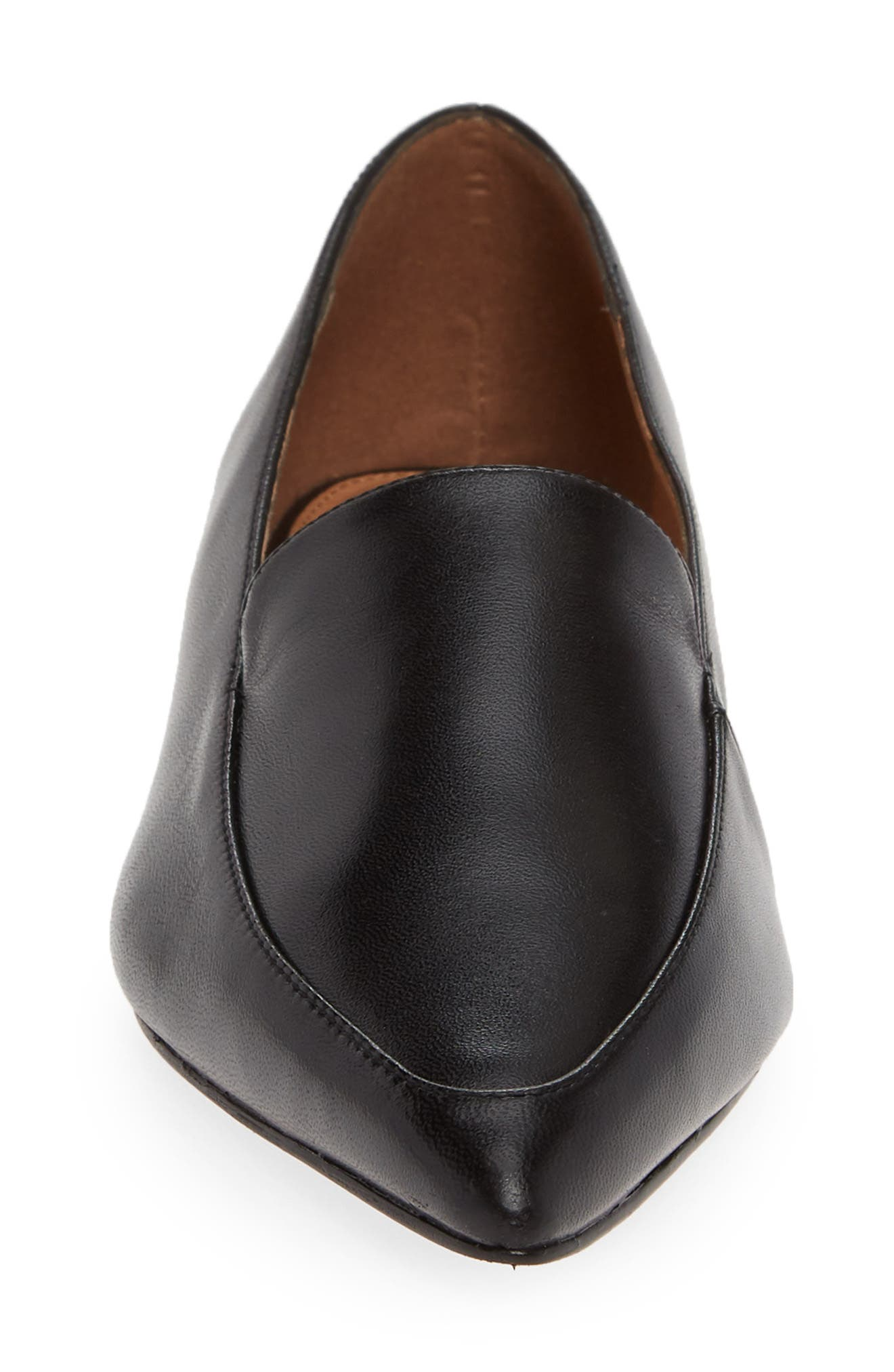 ,                             Kendra Pointy Toe Loafer,                             Alternate thumbnail 4, color,                             BLACK LEATHER