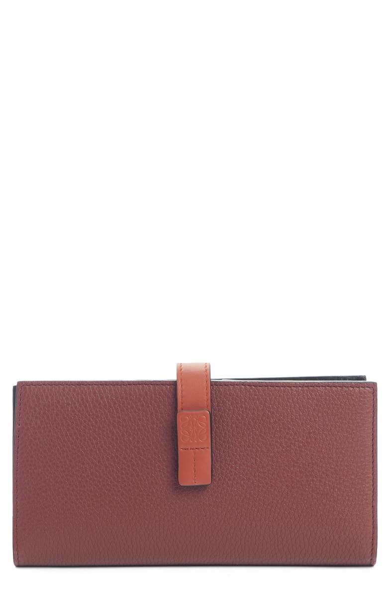 LOEWE Large Leather Wallet, Main, color, WINE/ BURNT ORANGE