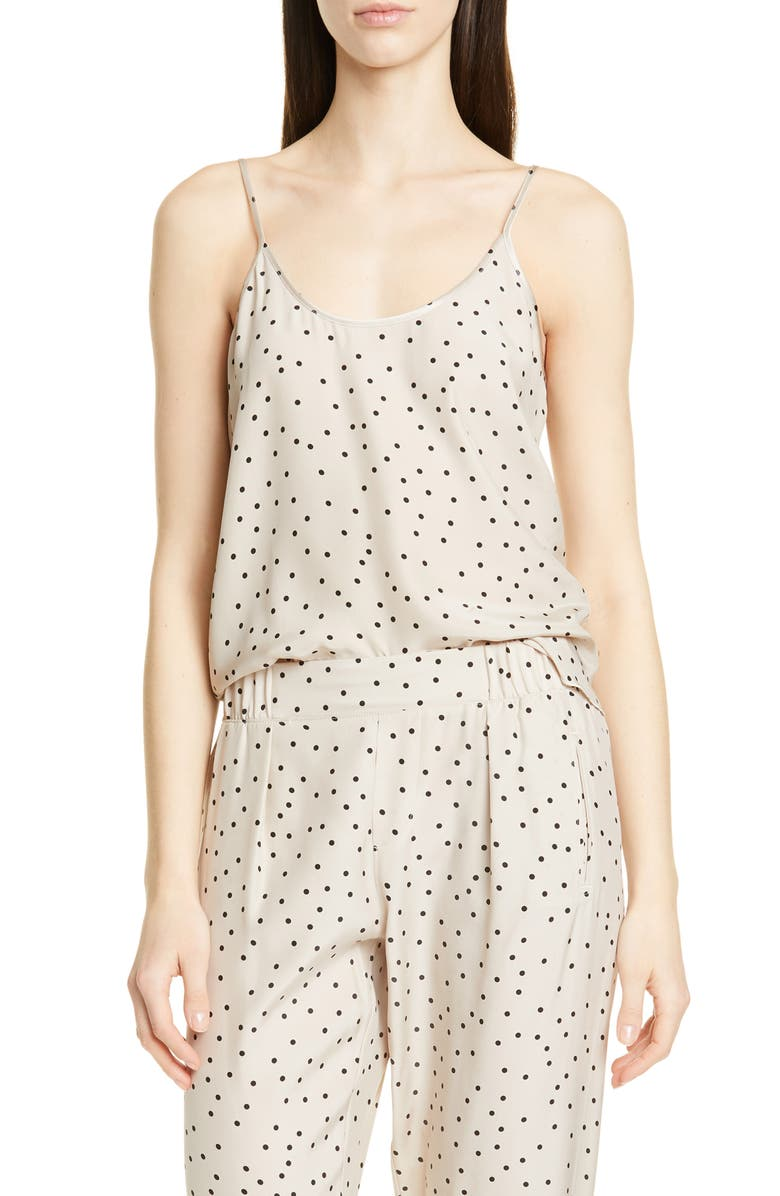 ATM ANTHONY THOMAS MELILLO Polka Dot Silk Camisole, Main, color, SOIL COMBO