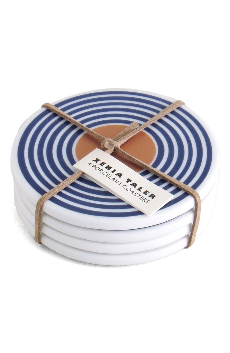 XENIA TALER Set of 4 Porcelain Coasters, Main, color, POOL