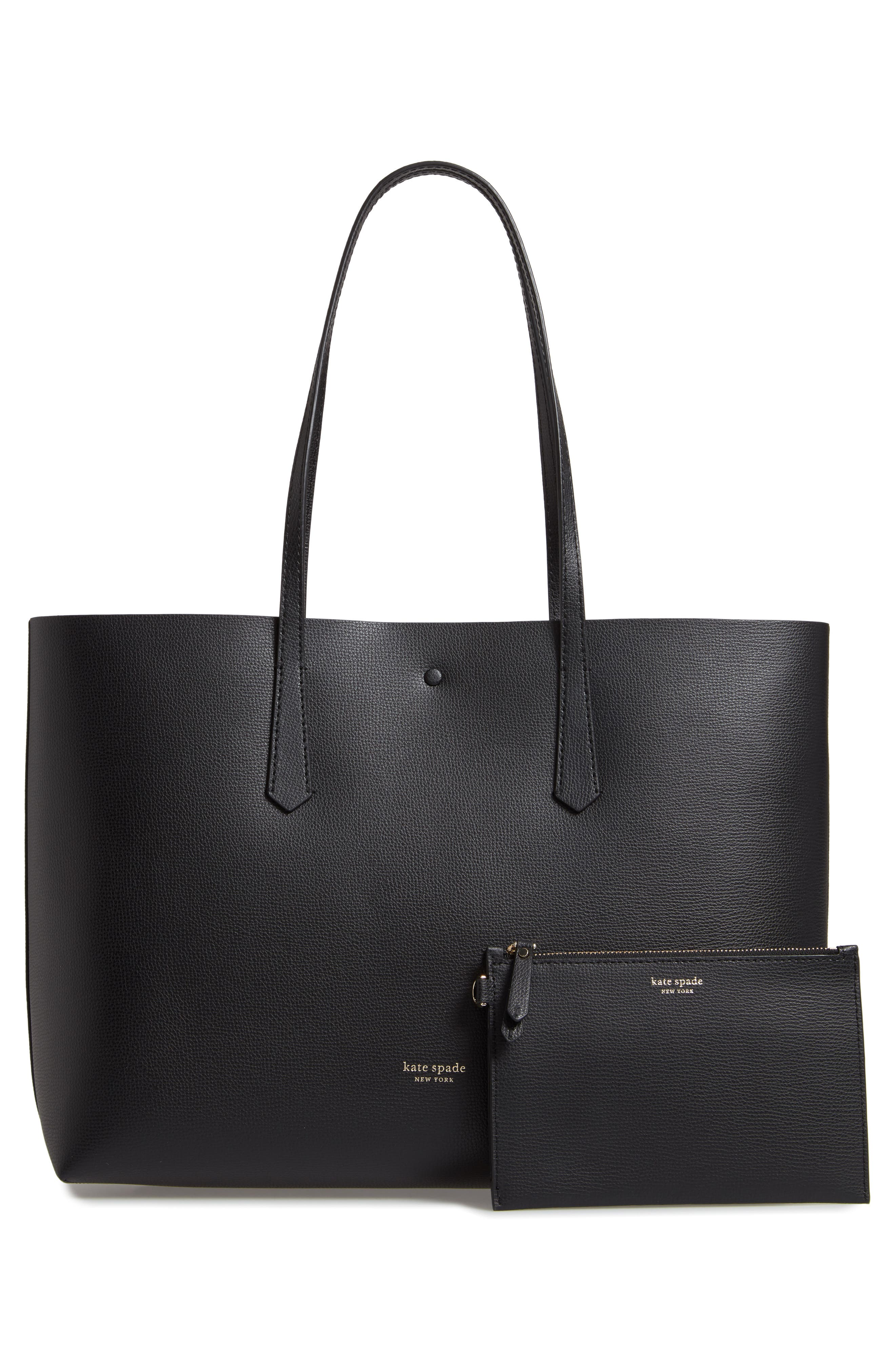 ,                             large molly leather tote,                             Alternate thumbnail 4, color,                             BLACK