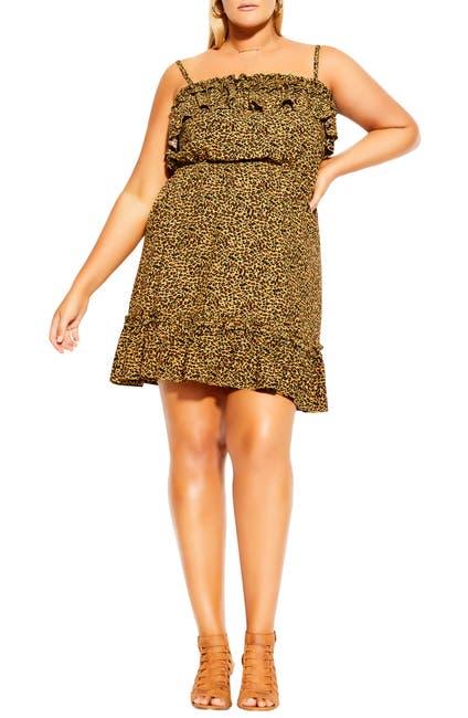 Image of City Chic Animal Print Babydoll Dress