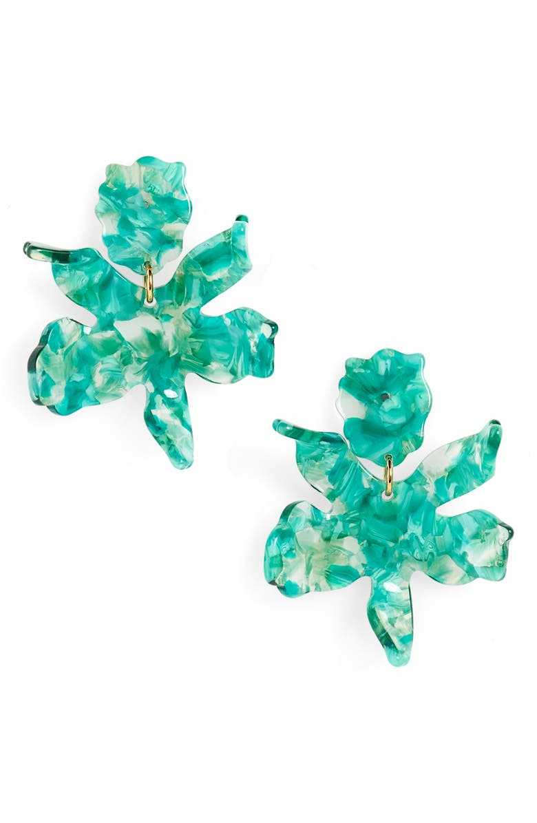 LELE SADOUGHI Small Paper Lily Drop Earrings, Main, color, LAUREL GREEN