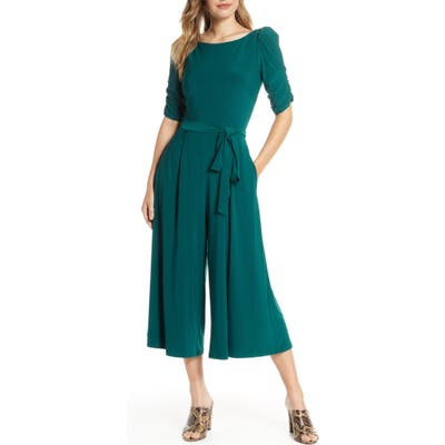 Eliza J Ruched Sleeve Jersey Crop Jumpsuit, Green