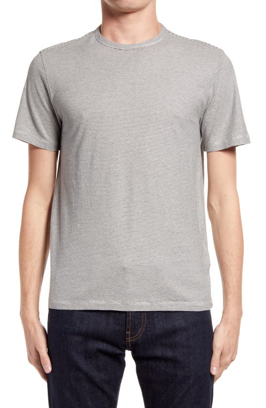 Officine Generale Mini Stripe T-shirt In Dark Grey/ White