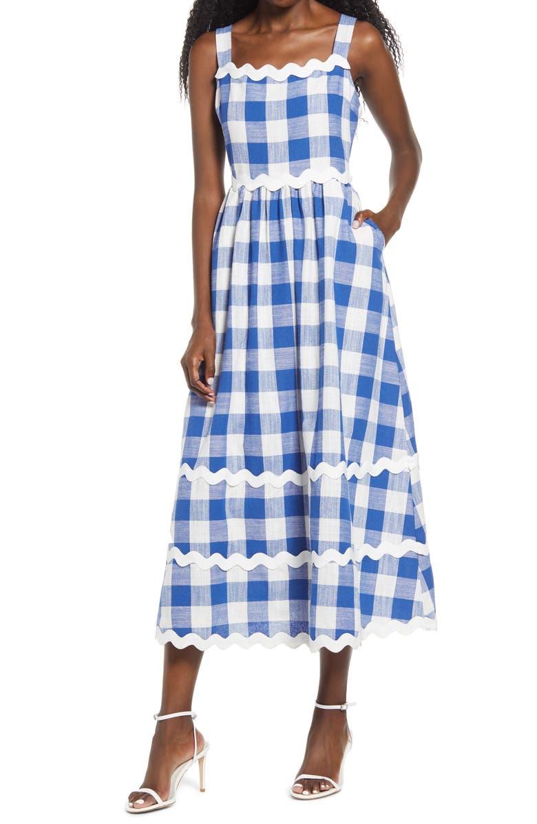 ENGLISH FACTORY Rickrack Trim Gingham Midi Dress, Main, color, BLUE