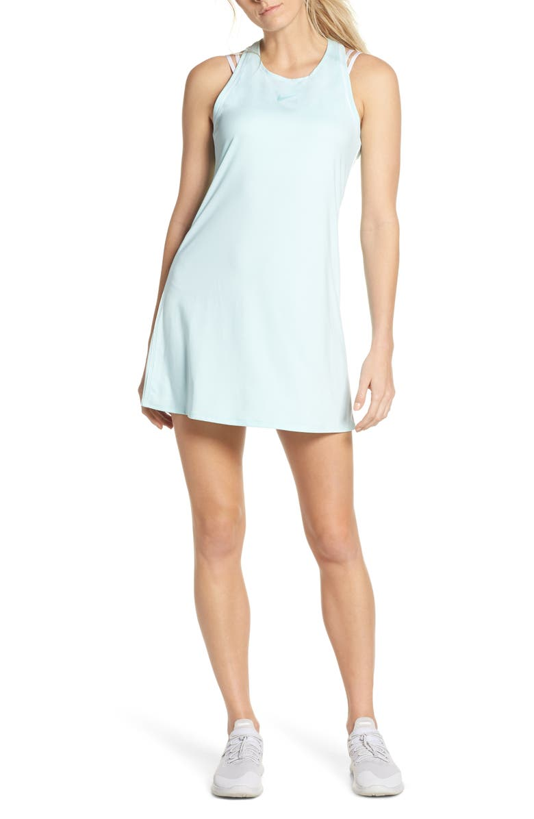 NIKE Court Dry Tennis Dress, Main, color, TEAL TINT/ WHITE/ TEAL TINT