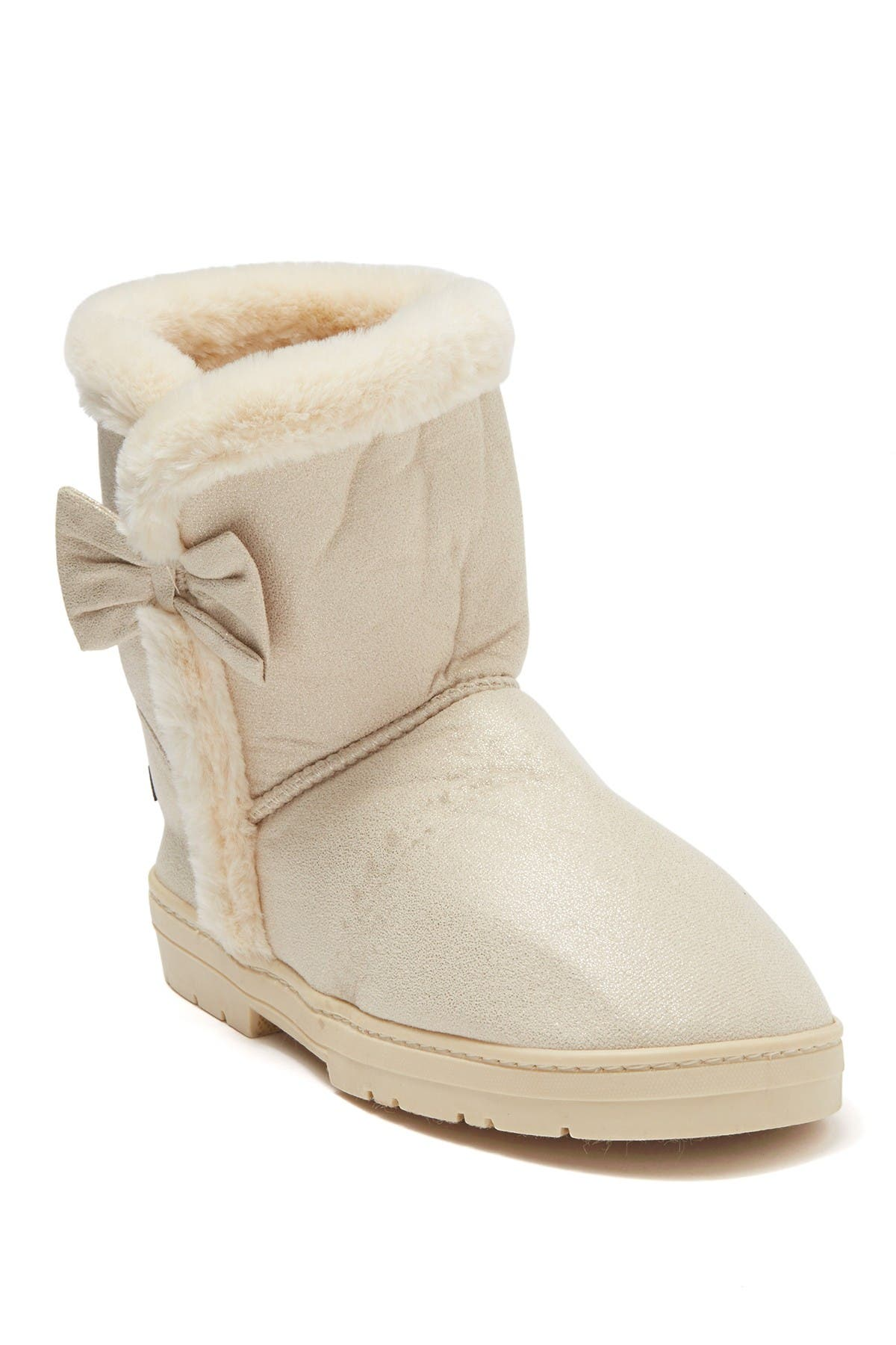 Image of bebe Faux Fur Lined Shimmer Microsuede Boot