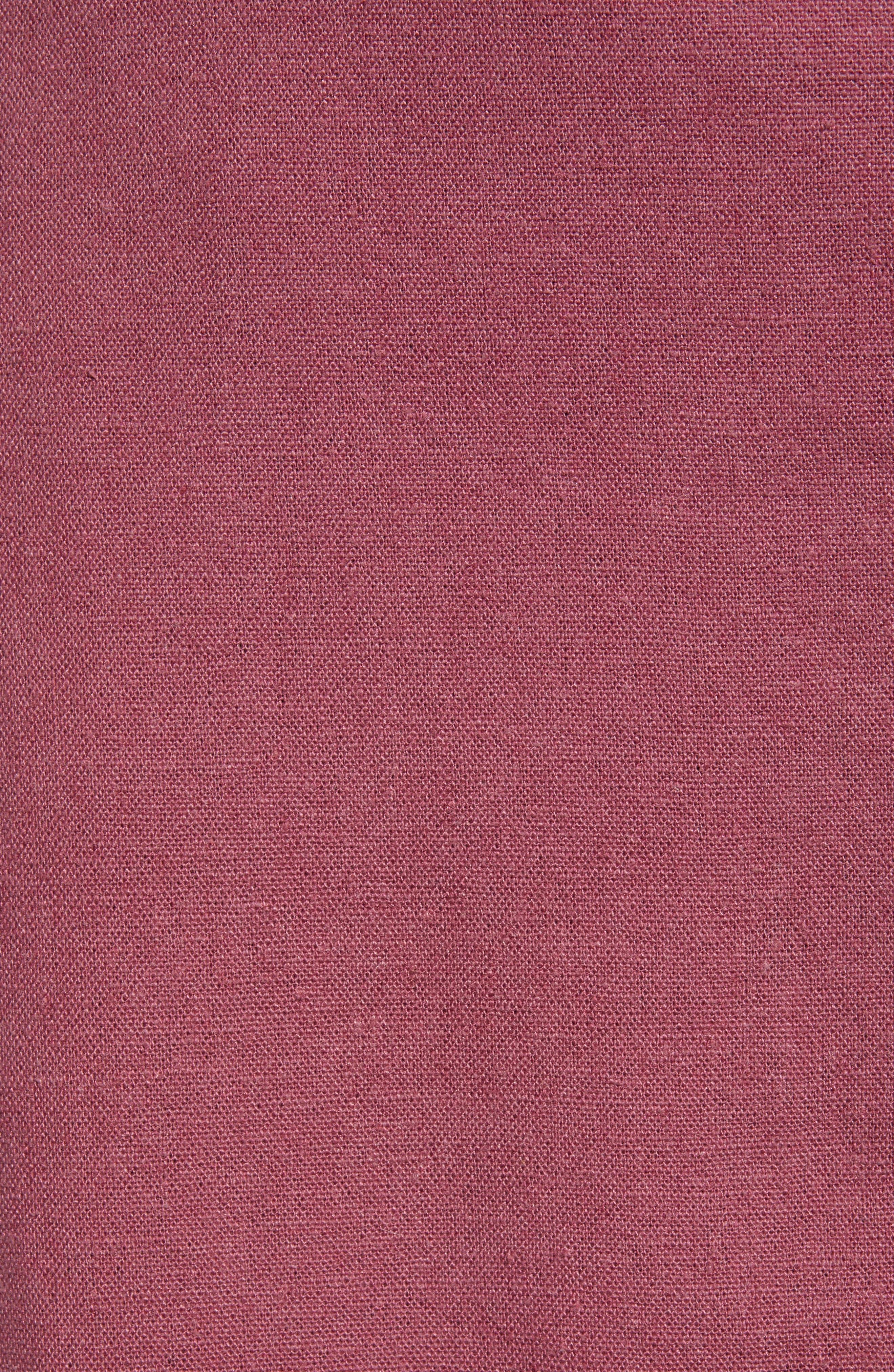 ,                             Button Front Linen Blend Midi Skirt,                             Alternate thumbnail 5, color,                             BURGUNDY CRUSH