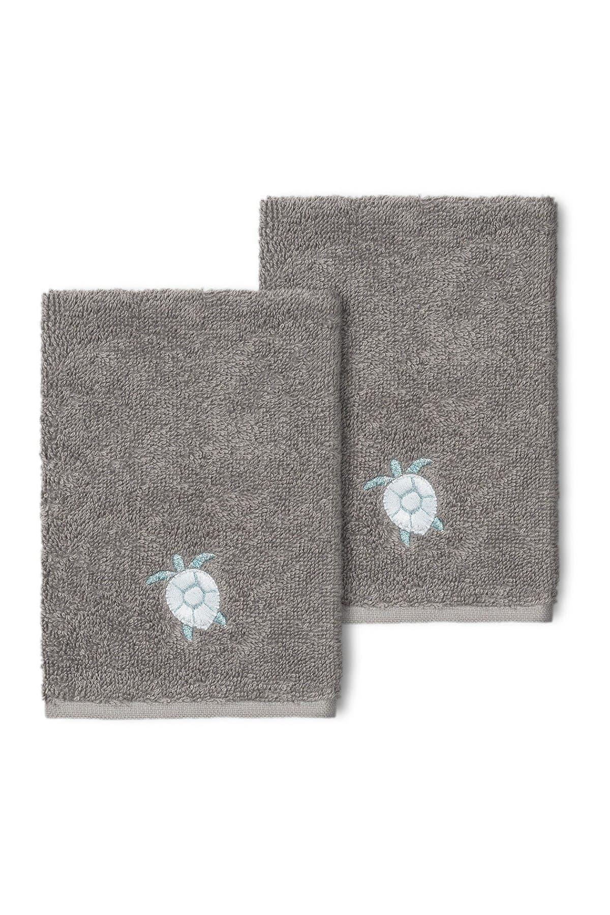 Image of LINUM HOME Ava Embellished Washcloth - Set of 2 - Dark Gray