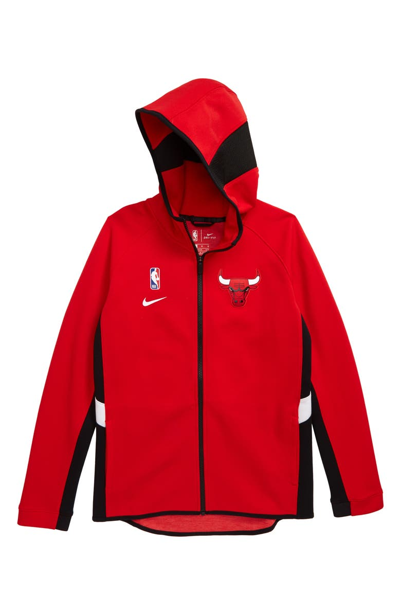 NIKE NBA Chicago Bulls Dry Zip-Up Hoodie, Main, color, UNIVERSITY RED