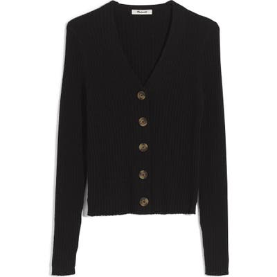 Madewell Shrunken Ribbed Cardigan, Black