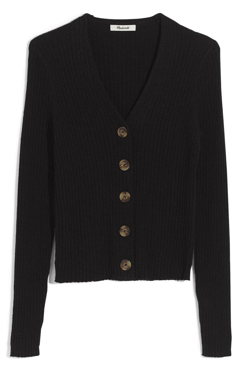 MADEWELL Shrunken Ribbed Cardigan, Main, color, TRUE BLACK