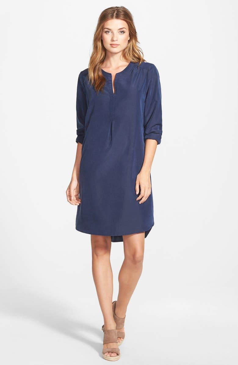 PLEIONE Split Neck Shirtdress, Main, color, 410