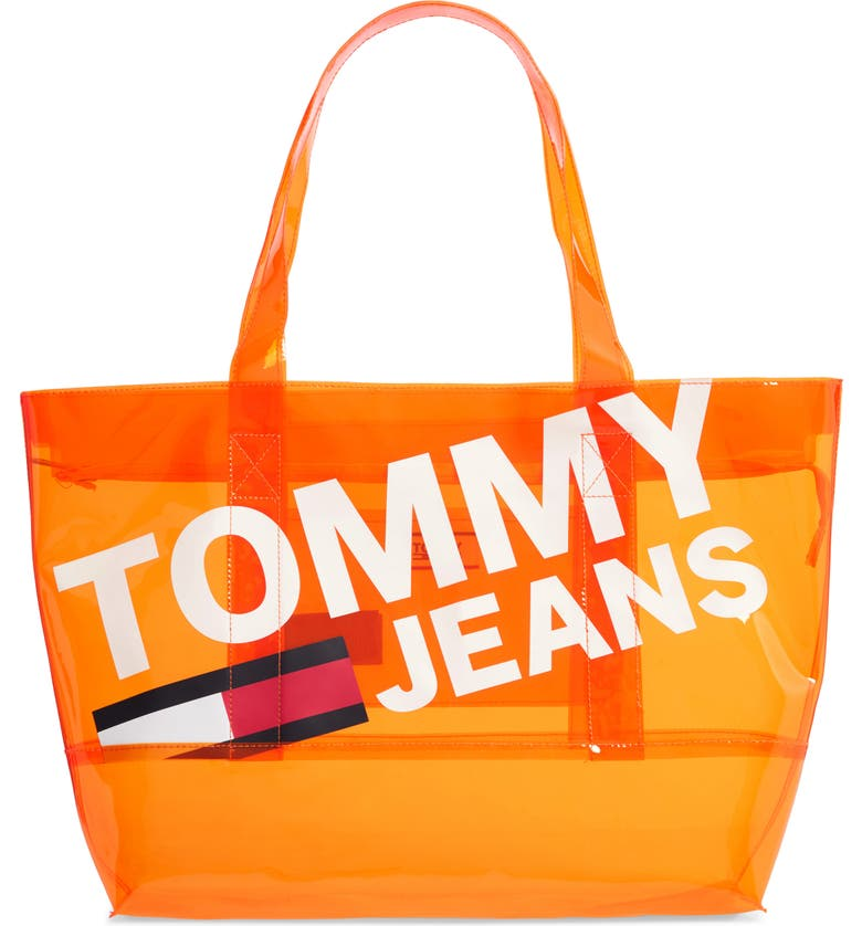 TOMMY JEANS Transparent Logo Tote, Main, color, RADIANT YELLOW