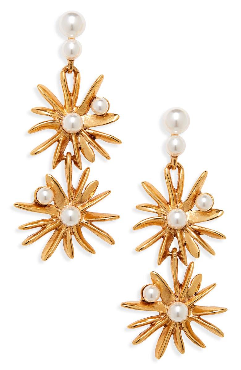 OSCAR DE LA RENTA Imitation Pearl Starburst Drop Earrings, Main, color, GOLD