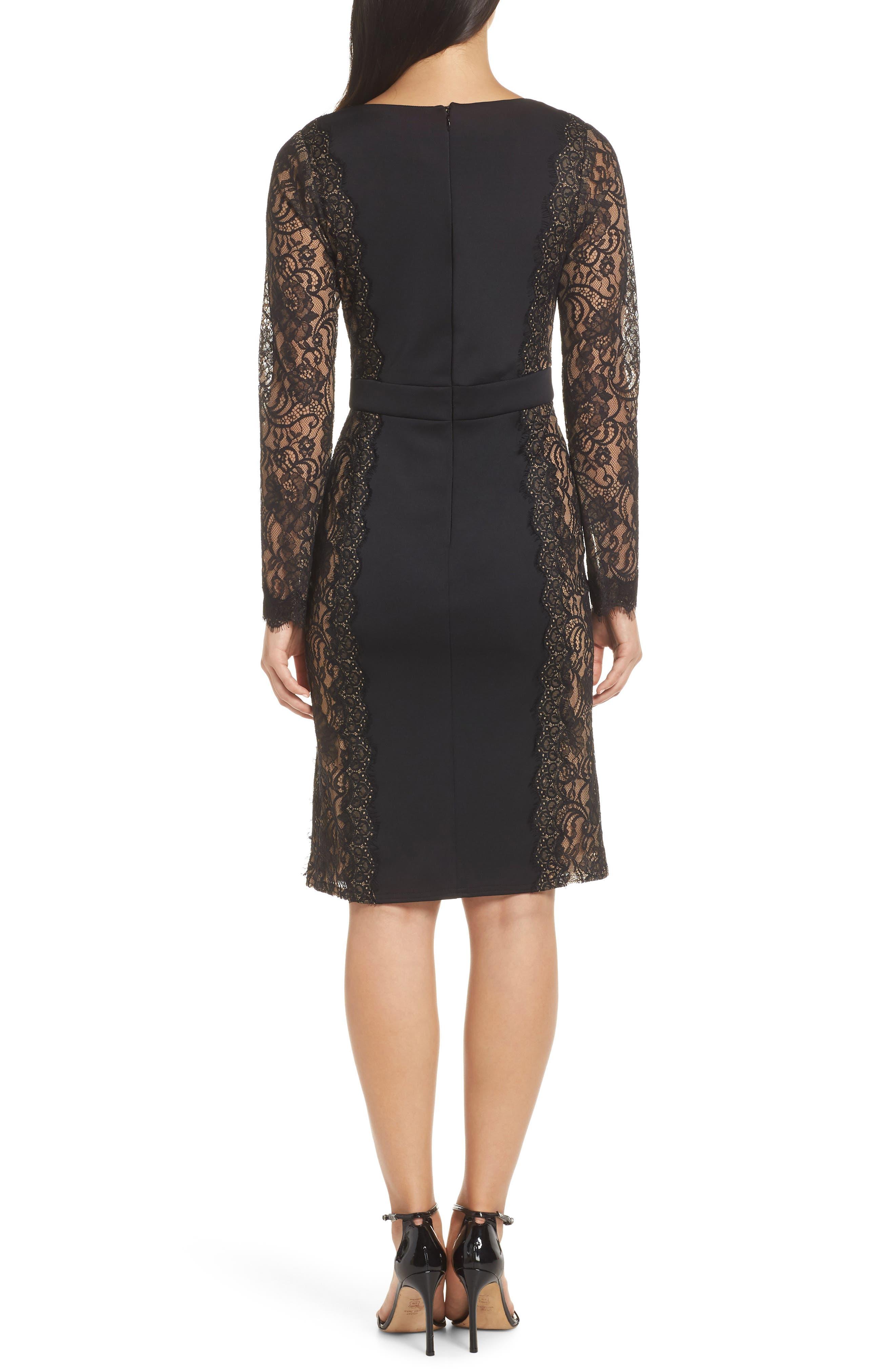 ,                             Long Sleeve Neoprene & Lace Cocktail Dress,                             Alternate thumbnail 2, color,                             001