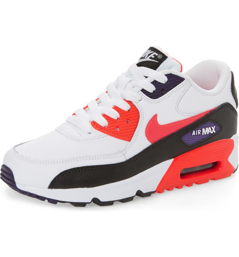 NIKE Air Max 90 Sneaker, Main, color, WHITE/ BRIGHT CRIMSON-BLACK