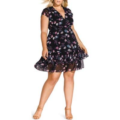Plus Size City Chic Jasmine Fit & Flare Dress, Black