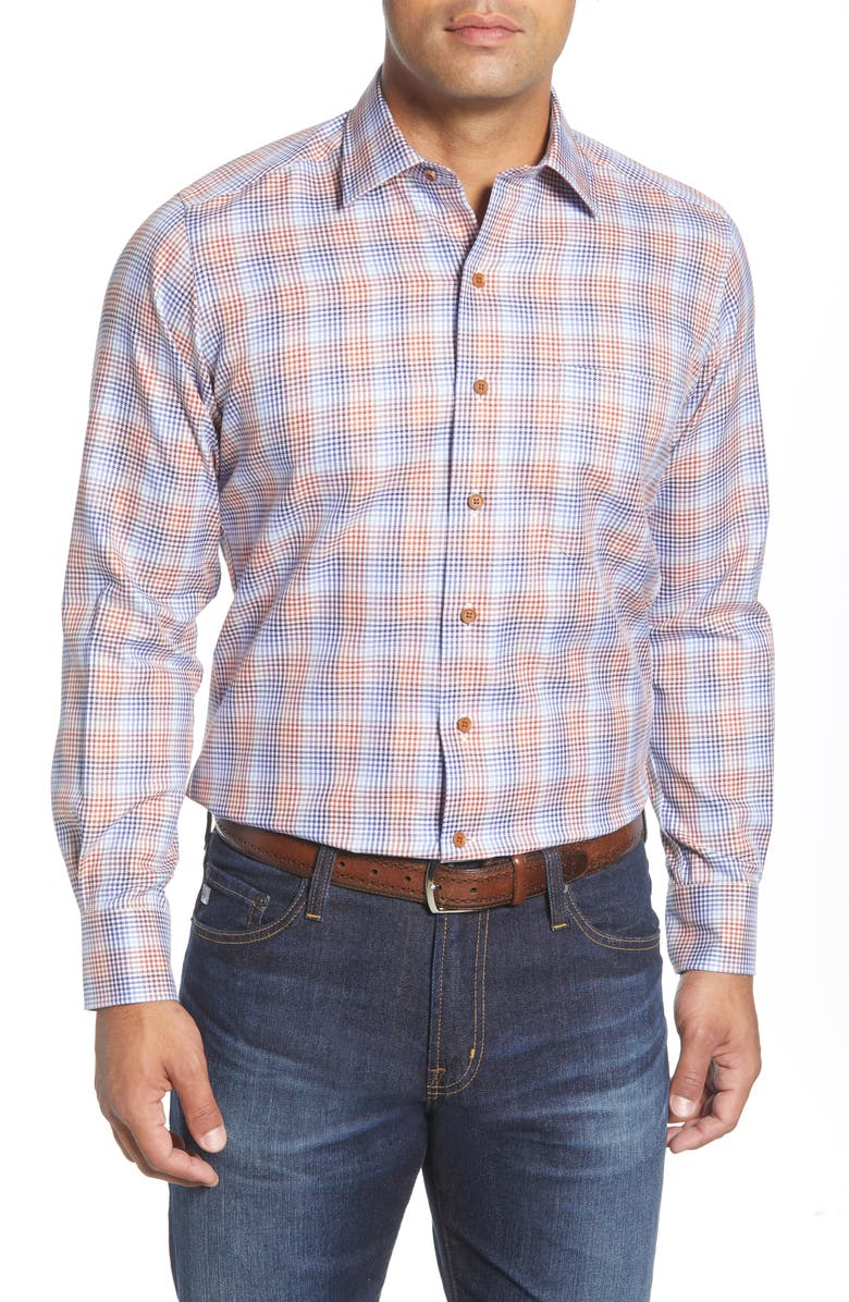DAVID DONAHUE Regular Fit Houndstooth Check Button-Up Shirt, Main, color, 807