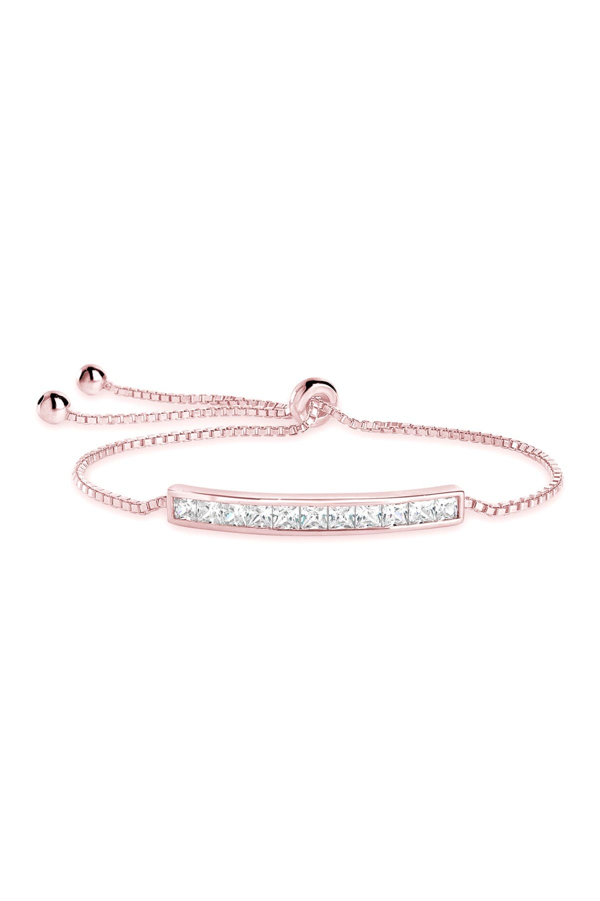 Image of Sterling Forever 14K Rose Gold Plated Brass Inlaid CZ Bar Bolo Bracelet
