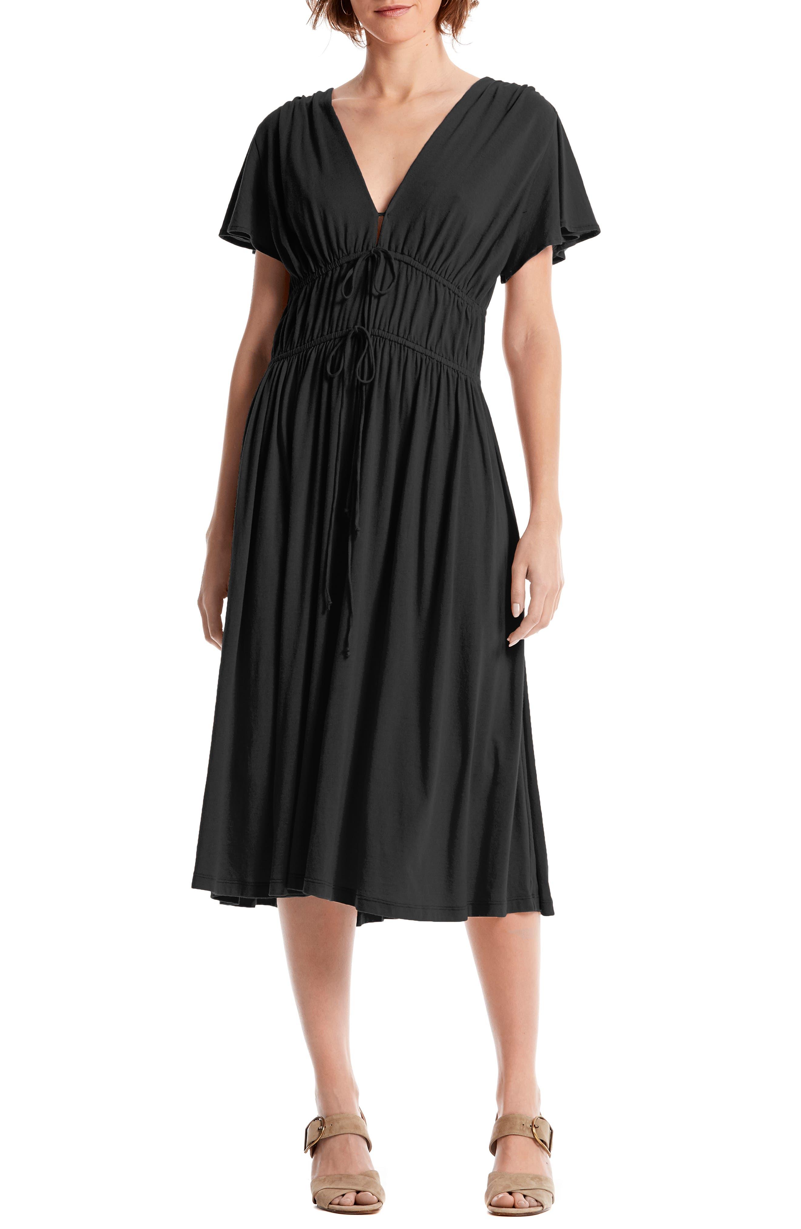 Michael Stars Dhalia Tie Front Dress, Black