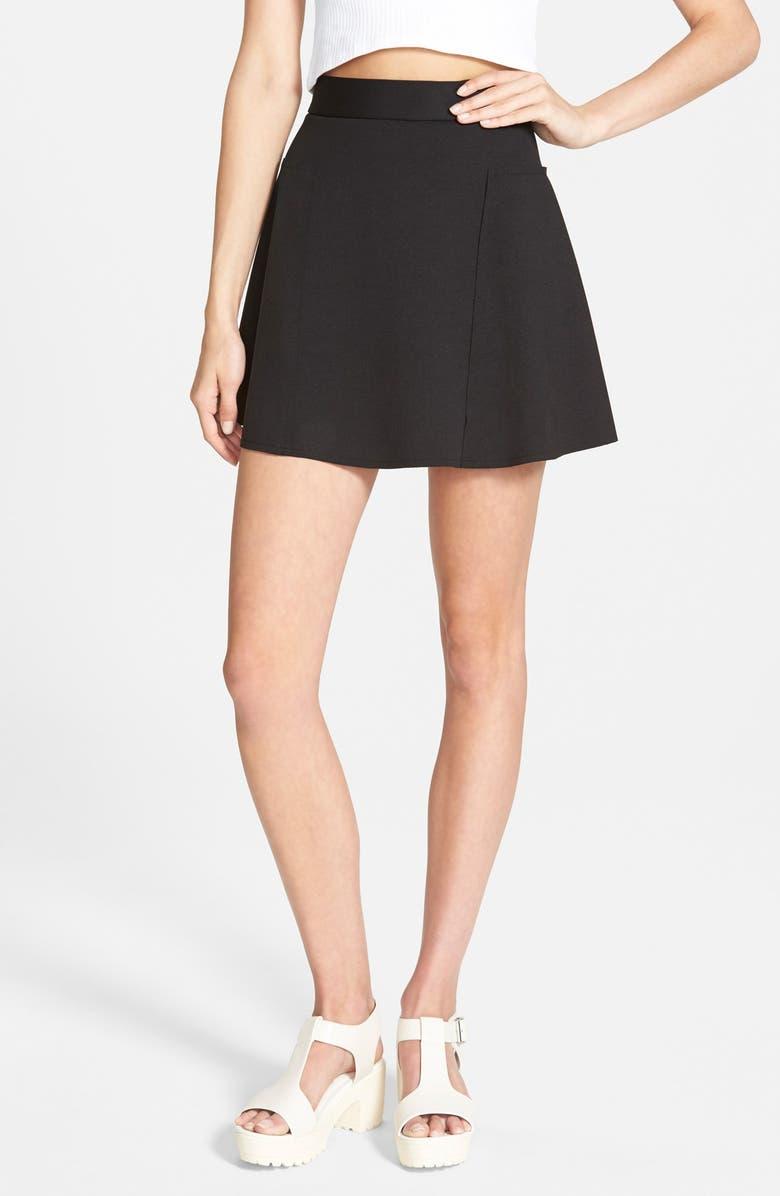 TOPSHOP Paneled Flippy Skirt, Main, color, 001