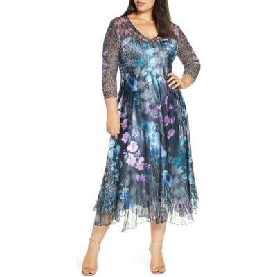 Plus Size Komarov Charmeuse A-Line Dress, Blue
