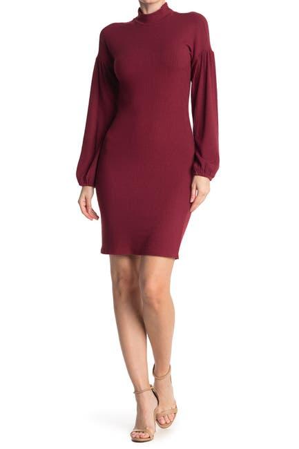 Image of MELLODAY Mock Neck Long Sleeve Ribbed Sheath Dress