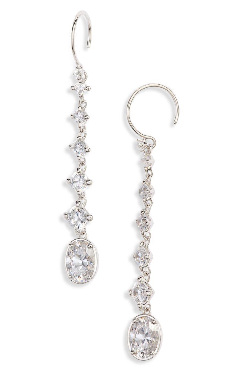 NADRI Issa Cubic Zirconia Linear Drop Earrings, Main, color, RHODIUM