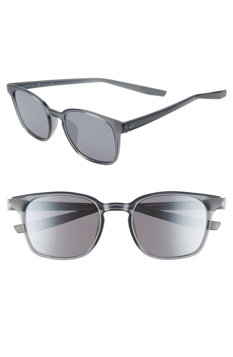 NIKE Session Core 51mm Square Sunglasses, Main, color, GREY/ PURE PLATINUM/ GREY
