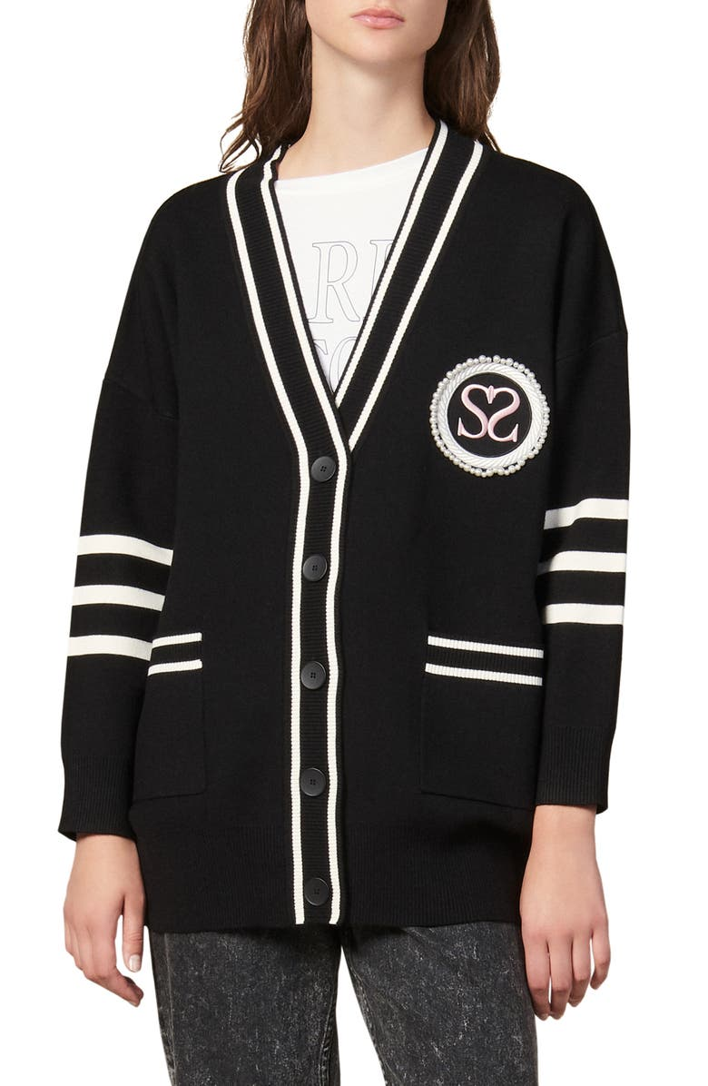 SANDRO Melna Crest Cardigan Sweater, Main, color, BLACK